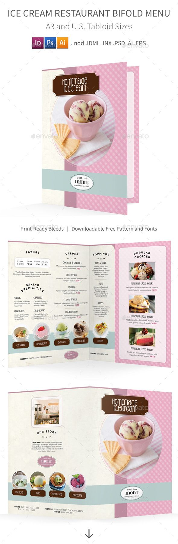 Ice Cream Restaurant Bifold / Halffold Menu Template #design #alimentationmenu Download: http://graphicriver.net/item/ice-cream-restaurant-bifold-halffold-menu/12257881?ref=ksioks