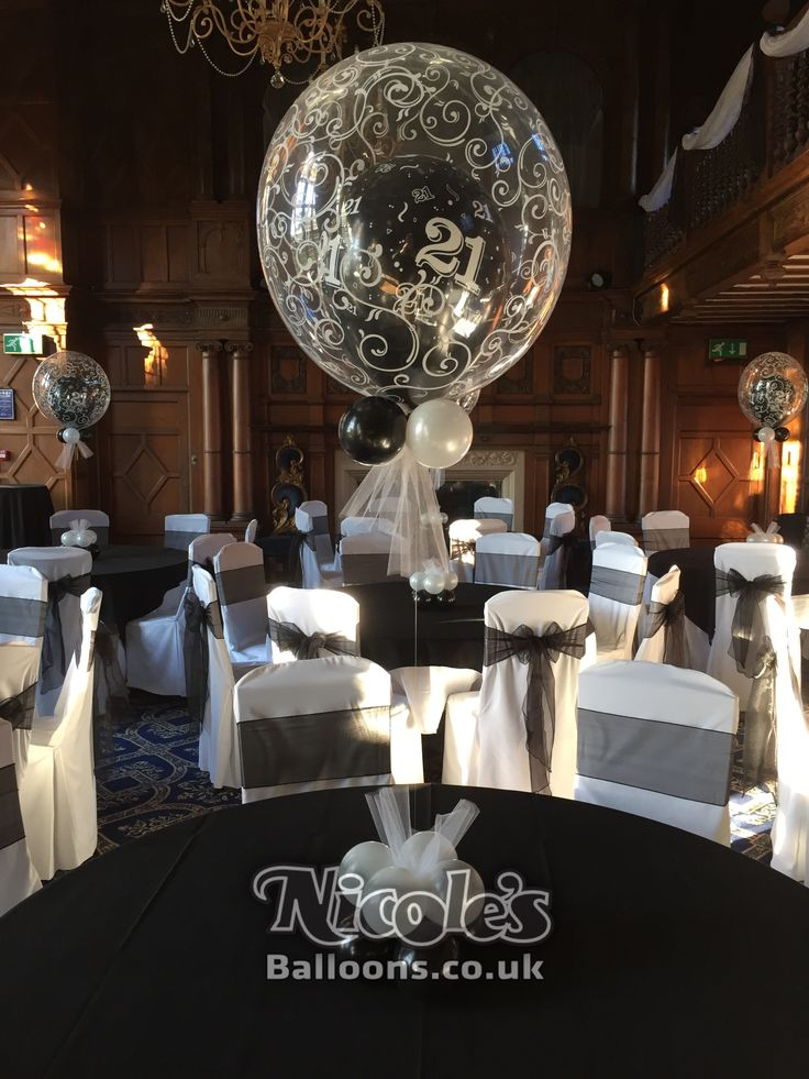 A floating 21st birthday balloon inside a larger bubble for Balloon decoration company