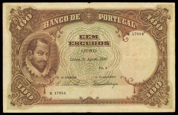 portuguese money | 1920 100 escudos photo courtesy ponterio and associates