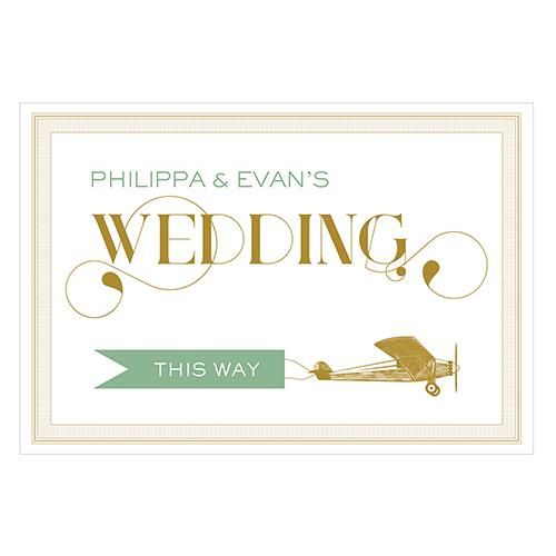 Vintage Travel Wedding Directional Sign Daiquiri Green (Pack of 1)