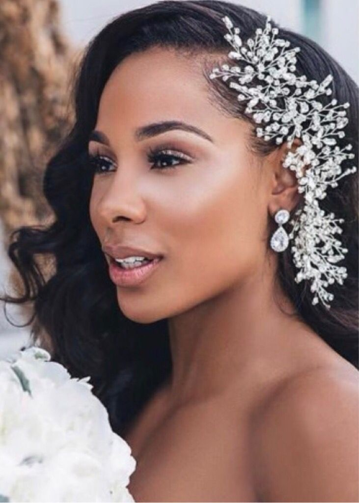 Black Bridal Wedding Day In 2020 Black Wedding Hairstyles Natural Hair Wedding Bridal Hair Down