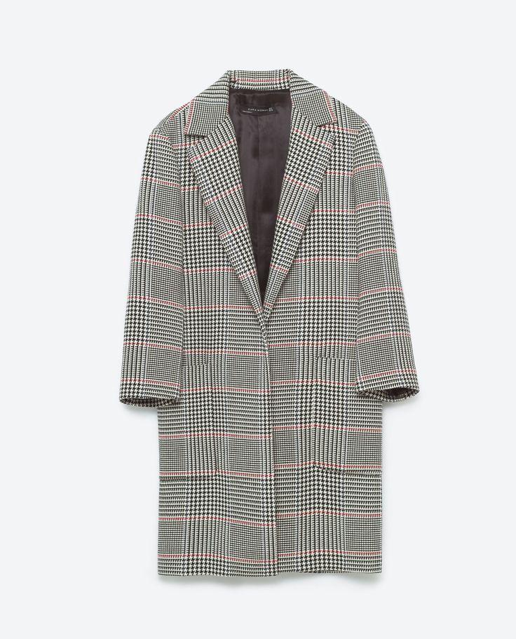Checked Long-line Jacket, £89.99, Zara