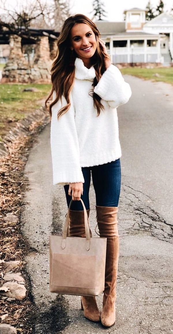 #winter #outfits white sweater; blue jeans; pair of brown leather thigh-high boots outfit