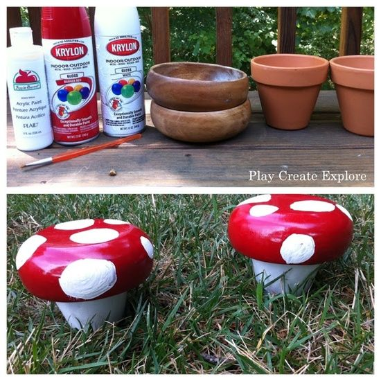 Play Create Explore: Make a Whimsical Mushroom with a Bowl and Terra Cotta Pot .. omg, toooooo cute!