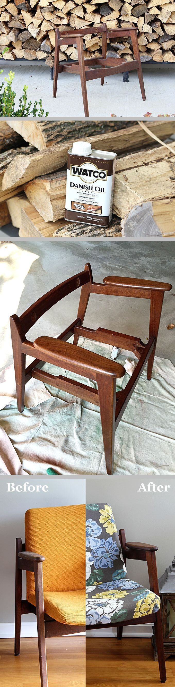 Mid-Century Modern Chair Restoration ~ Step-by-step restoring & reupholstering tutorial. Watco Danish Oil stains, seals & protects in one step by soaking into the wood & enhancing the color from within, rather than just sitting on top of the wood. Gives more of a hand-rubbed oil finish rather than a stain with varnish-type of finish. Comes in different colors. #DIY