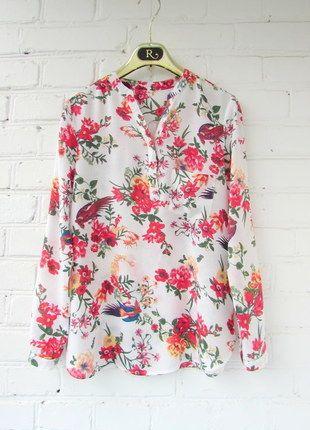 Kup mój przedmiot na #vintedpl http://www.vinted.pl/damska-odziez/koszule/14179210-zara-bawelniana-koszula-w-kwiaty-i-ptaszki-r-m