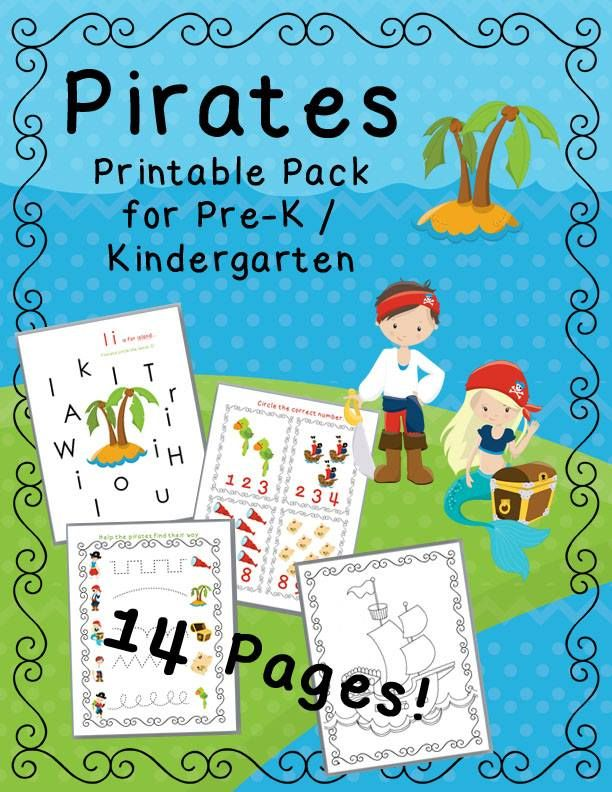 FREE Pirate Lesson Pack! Math games, counting games, and pirate color sheets. Perfect for preschool and Kindergarten. Practice alphabet recognition, counting, and pre-handwriting skills!