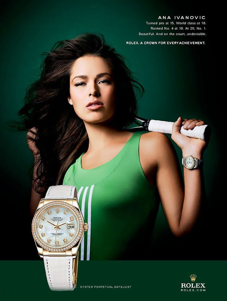 The beautiful Serbian tennis player Ana Ivanovic is wearing the Rolex Oyster Perpetual Datejust