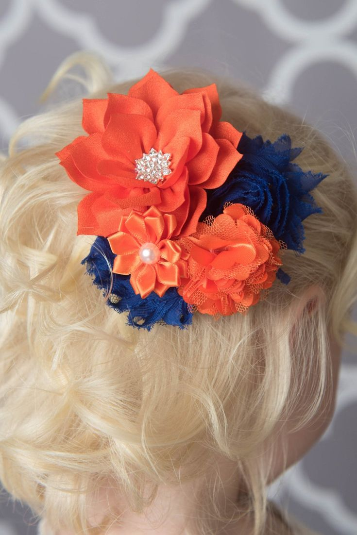 Orange & royal flower hair clip - denver broncos football hair clip