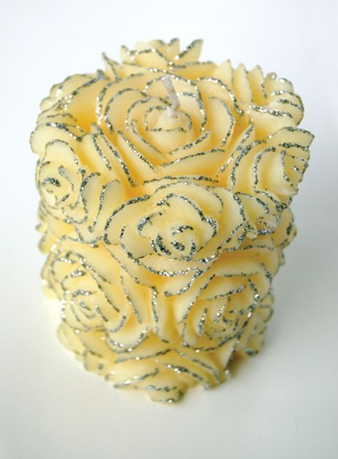 Sterling Rose pillar candle by Volcanica   great for weddings or a lovely pristine room!  www.volcanicacandles.com