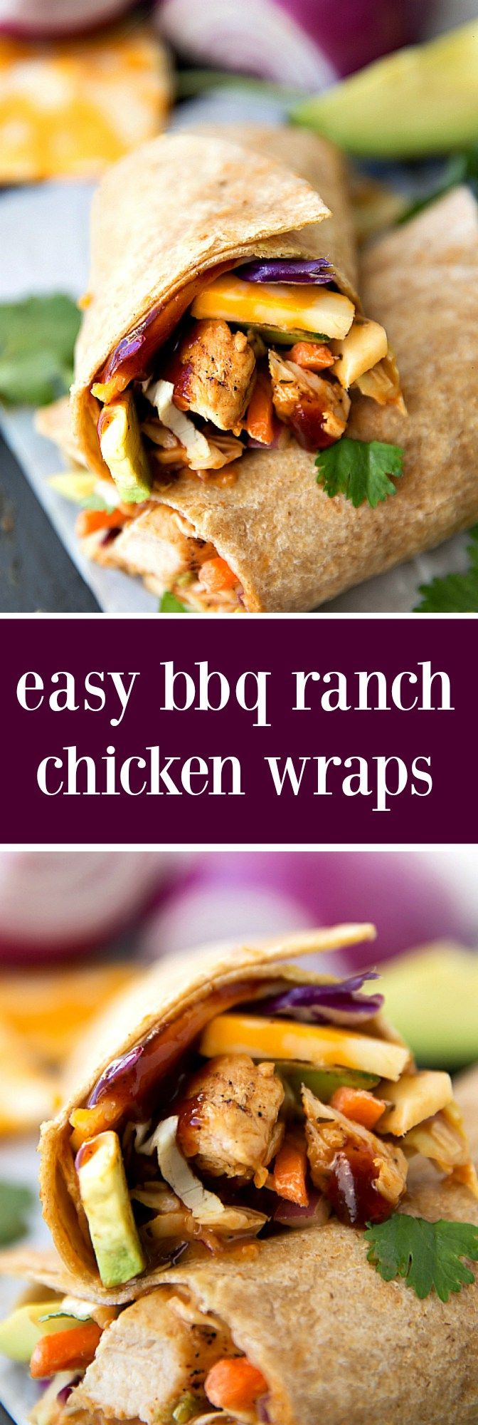 Quick and easy chipotle ranch BBQ Chicken Wraps filled with chicken, Colby jack cheese, avocado, chipotle ranch BBQ dressed coleslaw, red onions, and cilantro.
