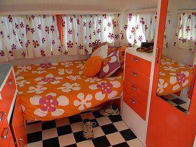 vintage caravan...very floral and very orange!