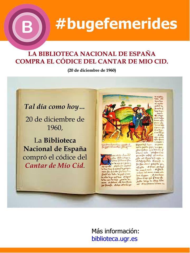 Celebramos la adquisición por parte de la Biblioteca Nacional del Cantar del Mío Cid #bibliotecaugr #bugefemerides #ElCantardelMioCid Documentos en Digibug: http://digibug.ugr.es/browse?type=subject&order=ASC&rpp=20&value=Poema+del+Cid Acceso al manuscrito en la BNE: http://bdh-rd.bne.es/viewer.vm?id=0000007628&page=1