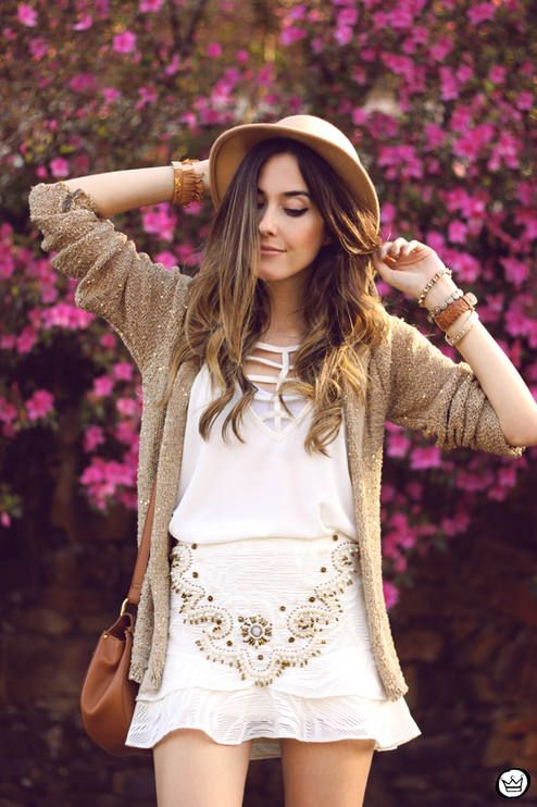 White And Camel Embellished Skirt Everyday Girly Fall Outfit Idea by Fashion Coolture