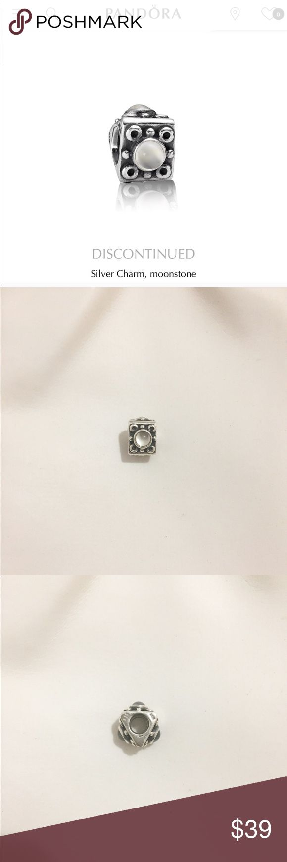 FIRM Authentic Pandora Moonstone Charm Preowned-- marked, retired charm--- Bought this in a Pandora jeweler from Herald square--- Authentic pandora charm. Everything must go. Most prices are firm since discount is more than 50% Pandora Jewelry Bracelets