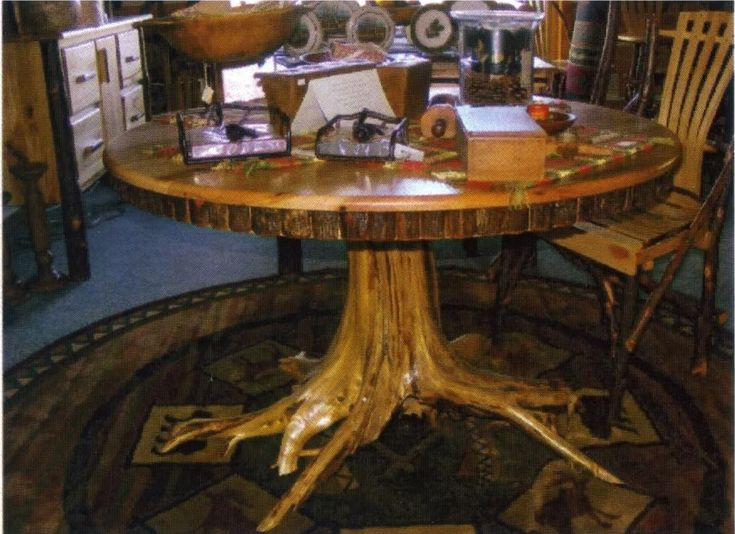 Amish rustic hickory dining table 48 round tree stump for Tree trunk dining table
