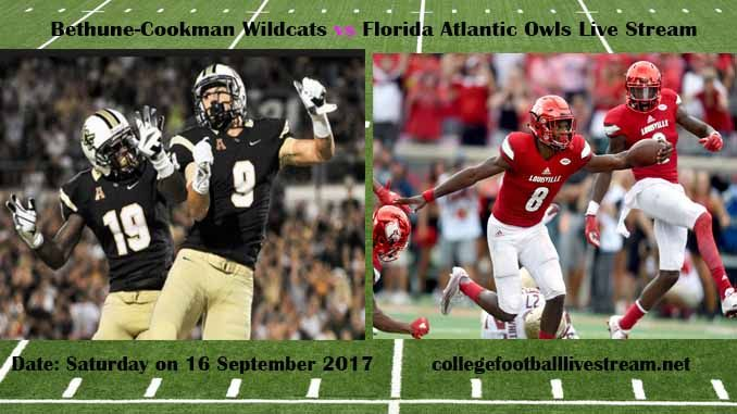 Bethune-Cookman Wildcats vs Florida Atlantic Owls Live Stream Teams: Wildcats vs   Owls Time: 8:00 PM Week-3 Date: Saturday on 16 September 2017 Location: FAU Football Stadium, Boca Raton, FL TV:  ESPN NETWORK Bethune-Cookman Wildcats vs Florida Atlantic Owls Live Stream Watch College Football...
