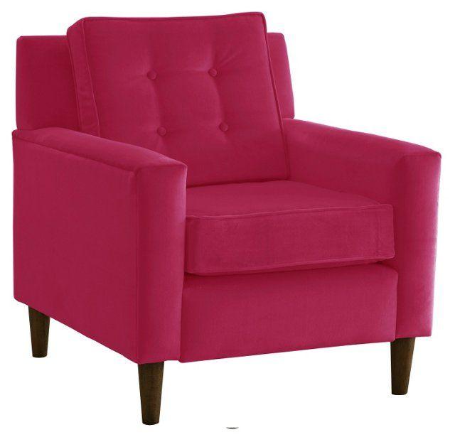 Winston Chair, Fuchsia Velvet