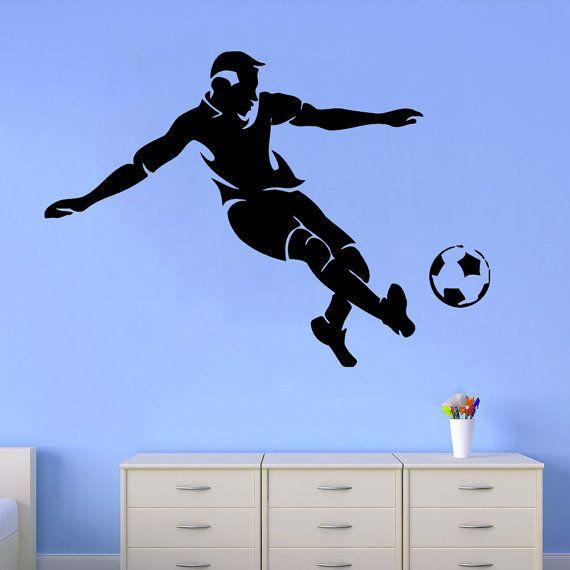 Calcio muro decalcomanie uomo calcio giocatore Decal Sport vinile adesivo Home Design interno dormitorio arte murale biancheria da letto Kids Boy Camera Decor KG99