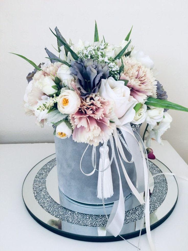 Artificial flower box arrangement grey white birthday