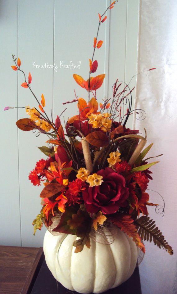 XL Fall White Pumpkin Centerpiece Autumn by KreativelyKrafted