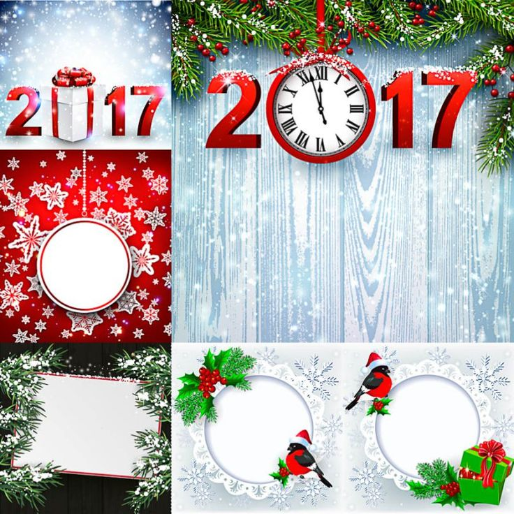 Set of vector cute Christmas backgrounds with 2017 inscriptions and frames for holiday designs. Free Christmas fremes and red numbers 2017 decorated with gift and clocks.