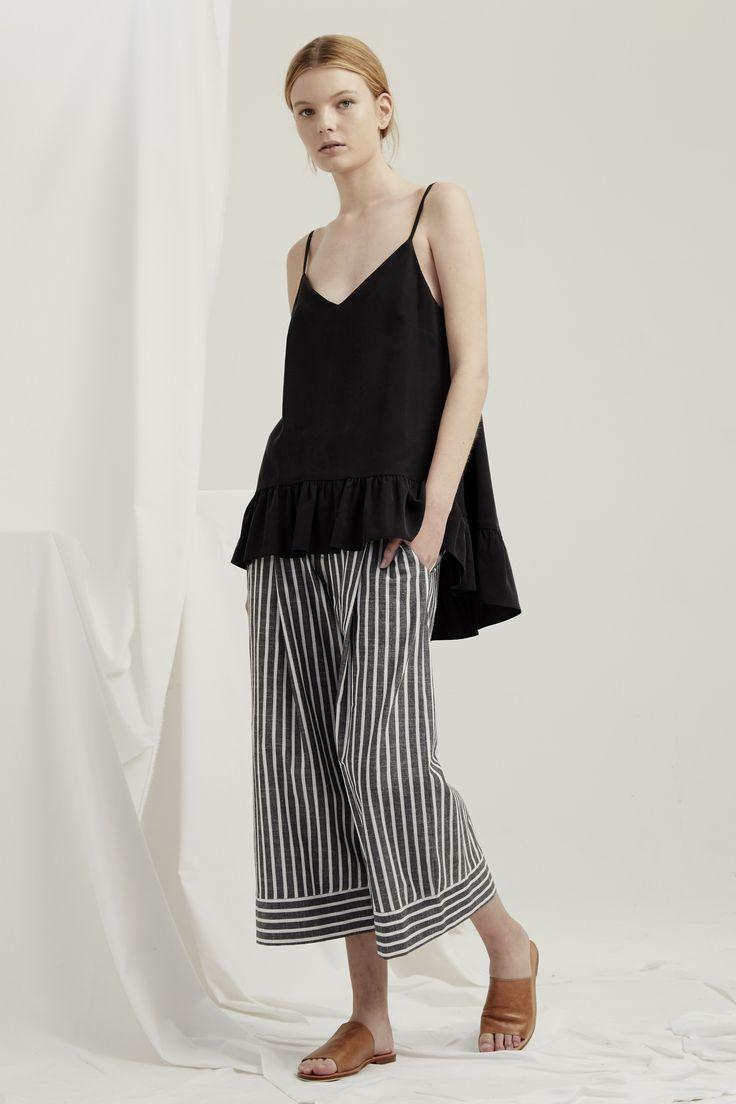 Parasol Top- Black Luna Pants - Grey Chambray Stripe