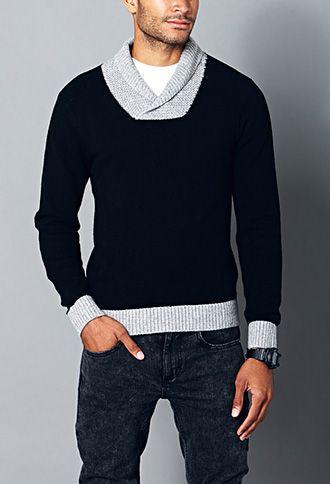 Colorblocked Shawl Collar Sweater   21 MEN - 2000111525