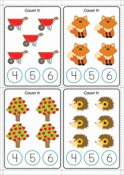 Math Centers for Kindergarten - Autumn / Fall. 123 pages. Count and Clip cards.