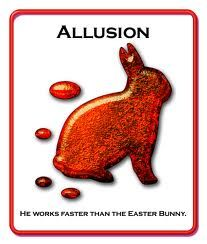 ALLUSION~ Definition: An expression or designed to call something to mind without mentioning it explicitly.  Sentence: Shakespeare is very famous for alluding to famous literature of his time period.