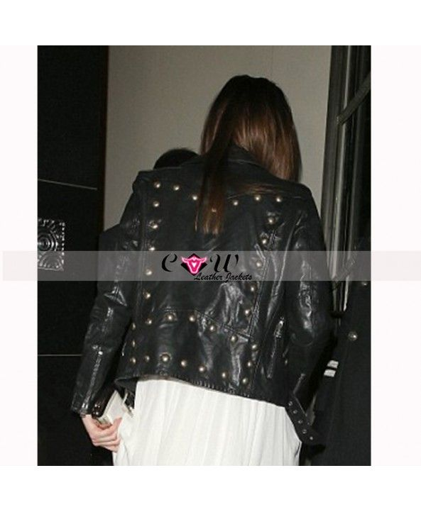 #DakotaJohnson #Studded #Black #Moto #Leather #Jacket
