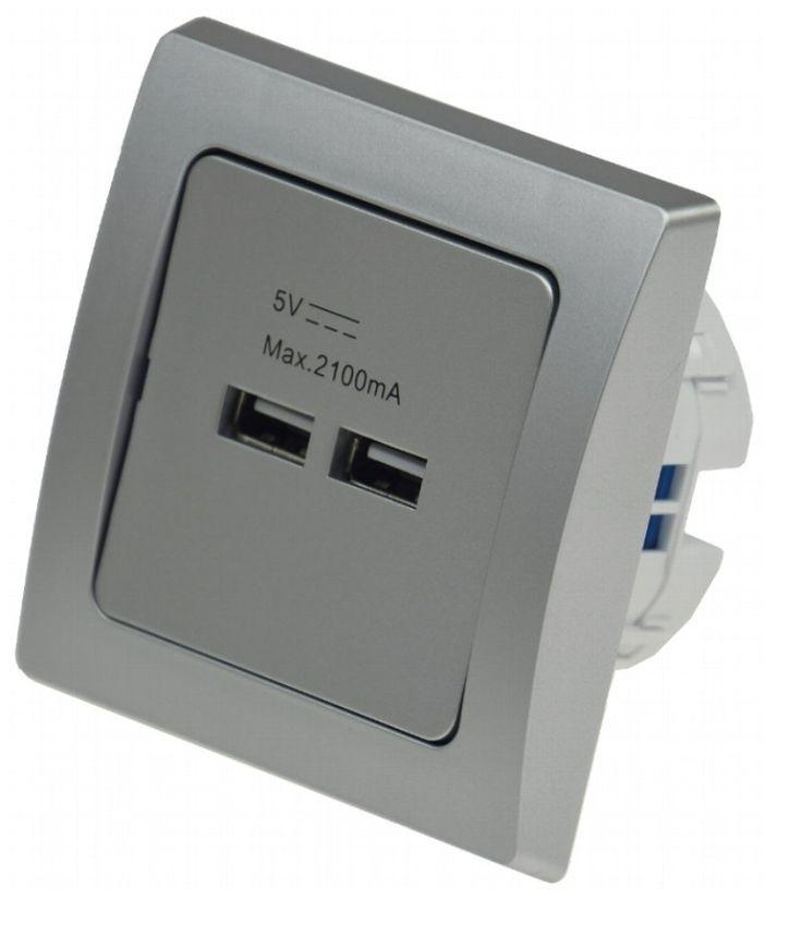 Die Vereinigung von funktioneller, praktischer Technik und natürlich schönem Design. Alle DELPHI-Komponenten sind für Längs- und Quermontage geeignet und mit einer eleganten silbernen Oberfläche versehen. Technische Daten Steckdose/USB: - Anschluss: 230V/50Hz - Kratzfest: Ja - Steckdose: Schutzkontakt - Belastbarkeit: 16 Ampere - USB Anschluss: 1 x 2 Ampere - leicht erweiterbar - Rahmen: inklusive - Ausführung: Unterputz - Farbe:silber - Maße: 80x80mm