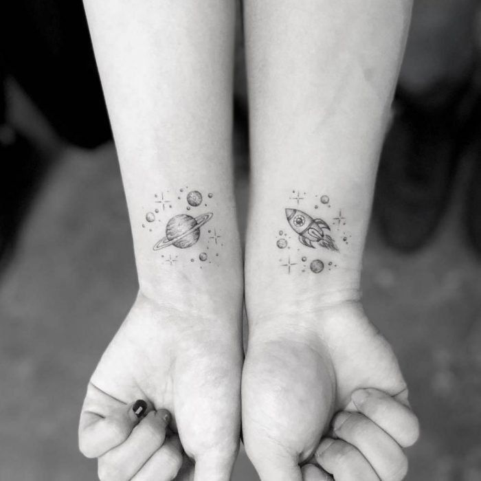 30 Matching Tattoos Every Couple Can Get Behind | Planet tattoos, Matching tattoos, Rocket tattoo