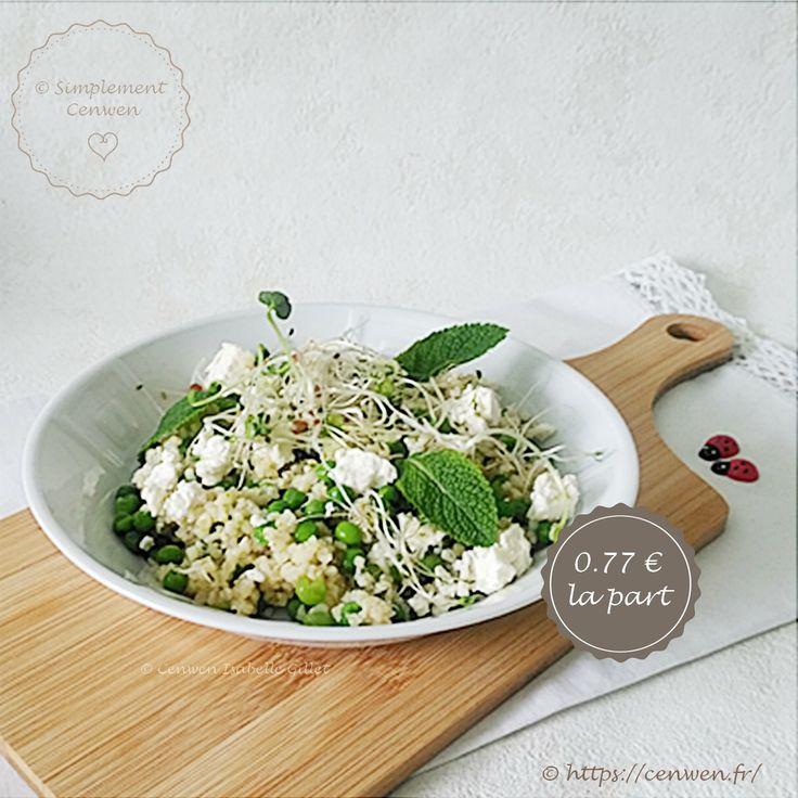 Salade composée : boulgour, petits pois, feta, menthe, recette économique, gourmande et fins de mois difficiles. Une variation autour du taboulé ♥