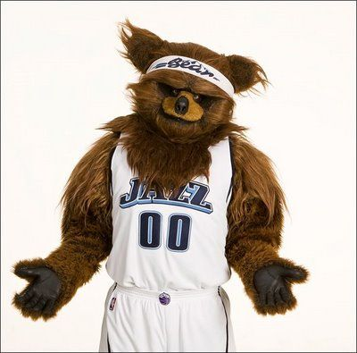 Utah Jazz NBA basketball team mascot Jazz Bear