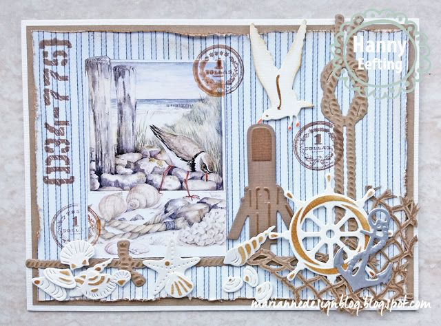 Handmade card by DT member Hanny with Creatables Porthole (LR0417), Ropes (LR0418), Craftables Punch Die Sea Shells (CR1363), Tiny's Beach Set (CR1279) and Clear Stamp Tiny's Fishnet (TC0839) from Marianne Design