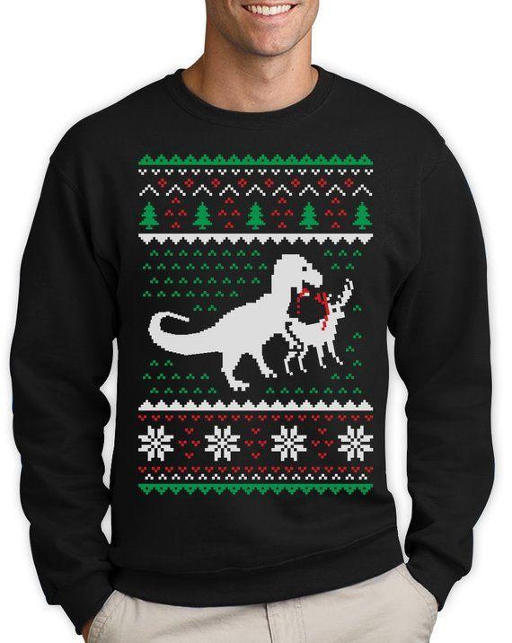 1f4b3ec149 T-Rex Vs Reindeer Ugly Christmas Sweater Men Funny Sweatshirt in ...