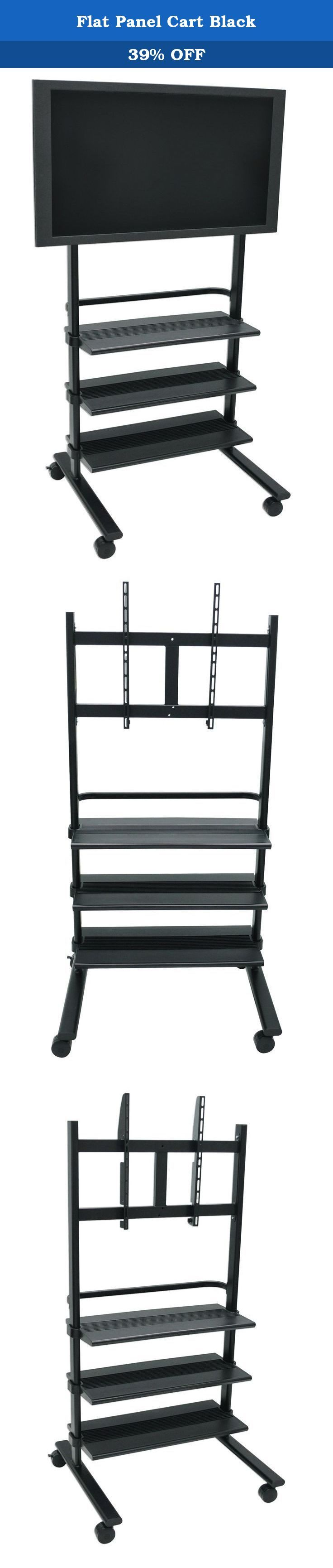 """Flat Panel Cart Black. H Wilson's WFP100 is a universal flat panel stand. The mount will accommodate up to a 32""""- 60"""" display. The WFP100 has a large footprint that provides stability and prevents tipping. The spacious three plastic shelves measure 29.5""""W x 14"""" D. The handle is built in for easy mobility. 3"""" easy roll casters. Easy Assembly. Lifetime warranty. Sturdy metal frame with black finish. Heavy-duty plastic shelves with textured surface to prevent equipment from sliding. Each…"""