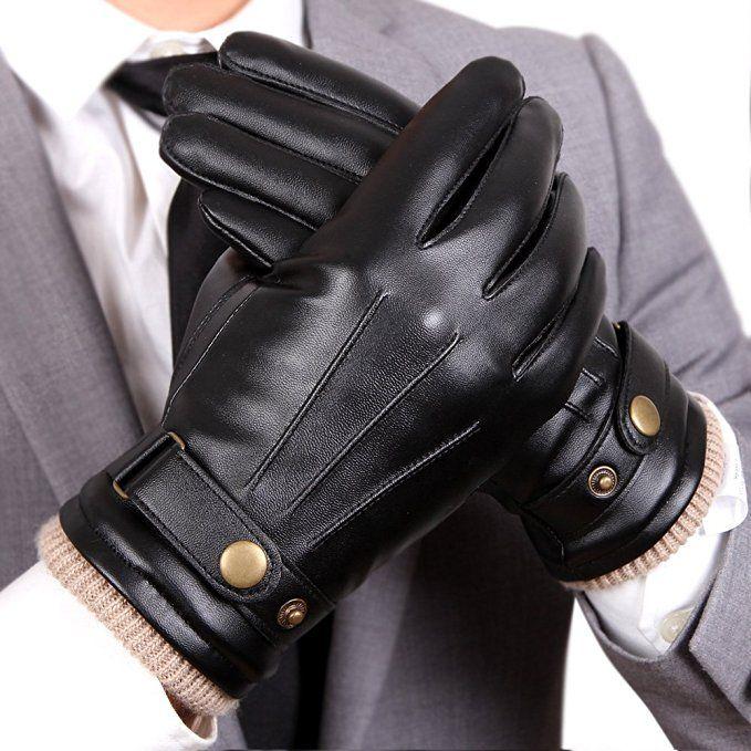 Warmen Mens Touchscreen Texting Winter Pu Faux Leather Gloves Driving Long Fleece Lining Black Wool Cashmere Blend Cuff