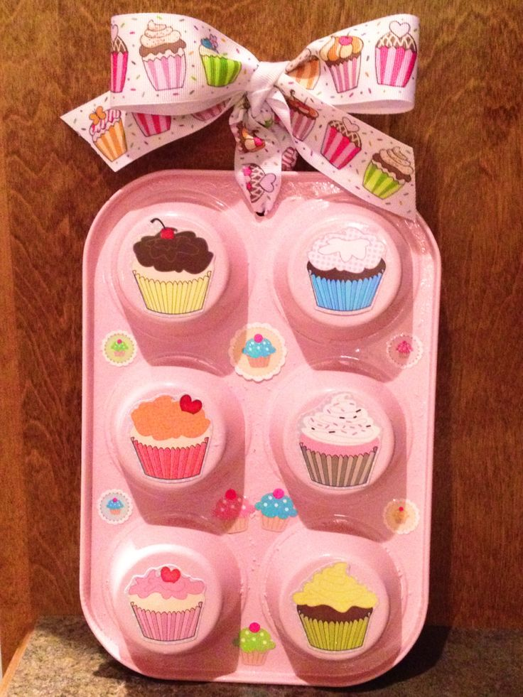 Cupcake Tin Spray Paint Stickers Ribbon Kitchen Decorkitchen
