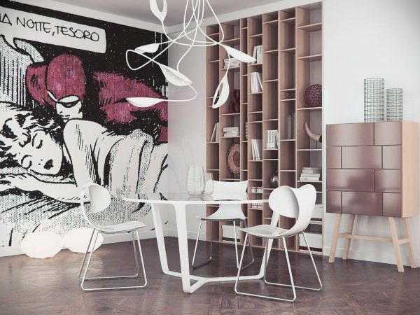 Stunning Dining Area Design Ideas with Pop Art Comic Book Wall Mural