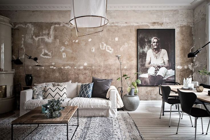 Living room with concrete walls