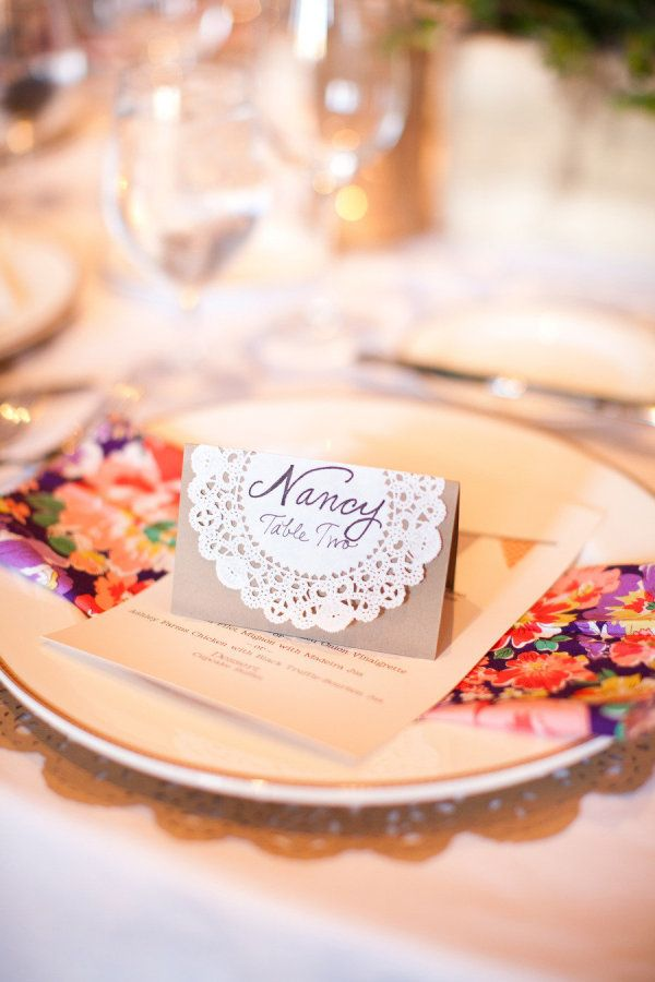 Place card accented with a doily