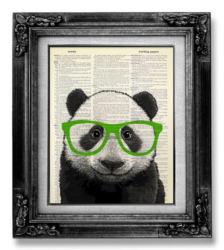 PANDA Art Green Glasses, Cute Home Office Decor, GEEKERY Art, Geek Art, HIPSTER Decor Wall Art, College Room Wall Decor, Geeky Nerd Poster by GoGoBookart on Etsy https://www.etsy.com/uk/listing/172134278/panda-art-green-glasses-cute-home-office