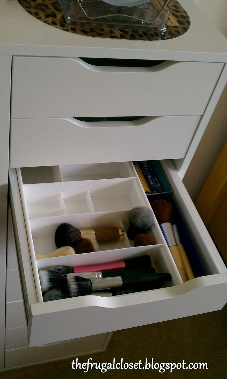 Makeup organization from the frugal closet organizing Makeup drawer organizer ikea