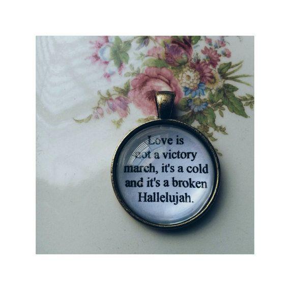 Hallelujah lyric quote necklace- Leonard Cohen lyric quote necklace