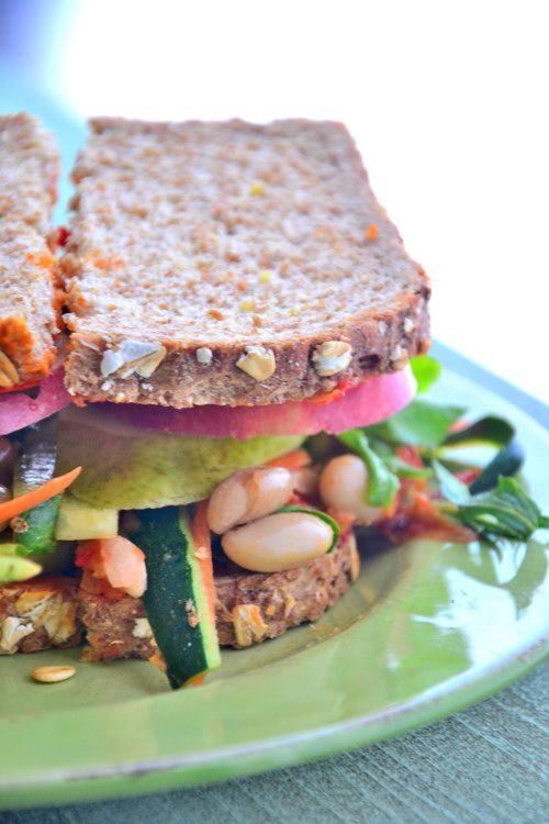 "Don't you just love the sound of this ""Nourishing Triple Layer Veggie Sandwich""? It's my new gluten-free go-to lunch."