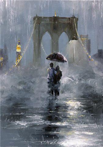 Victor Bauer.     Brooklyn Bridge painting