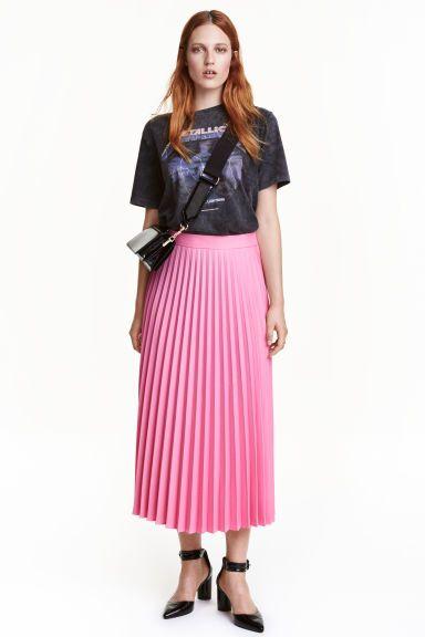 Плиссированная юбка - Розовый - | H&M RU 1