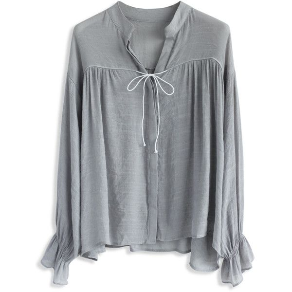 Chicwish Easy Mind Smock Top in Grey (49 CAD) ❤ liked on Polyvore featuring tops, blouses, grey, frilly blouse, flutter-sleeve top, grey top, button up blouse and frilly tops